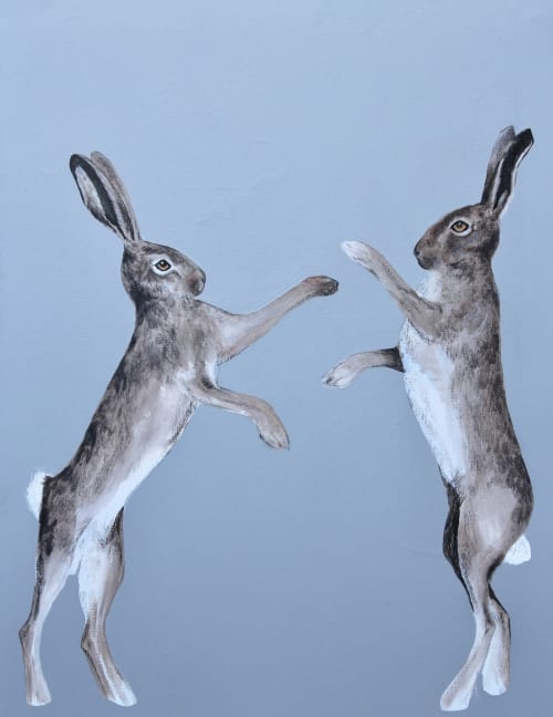 Paintings by EMMA TAYLOR ART seen at Private Residence, Bath - Grey boxing hares