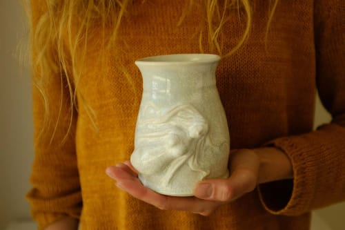 Cups by Mieke Ceramics seen at Private Residence, Henley Beach - Hand-sculptured ceramic mermaid mug