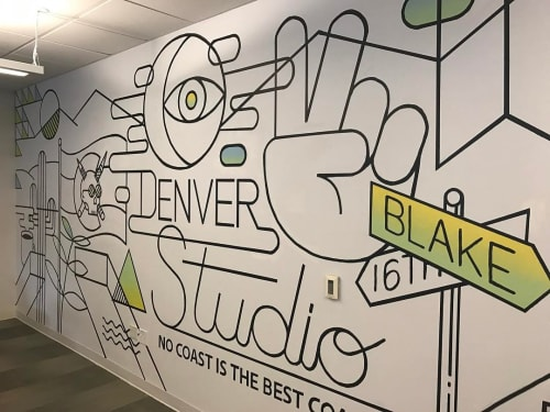 Murals by Andrew Hoffman at Deloitte Digital, Denver - No Coast Is The Best Coast