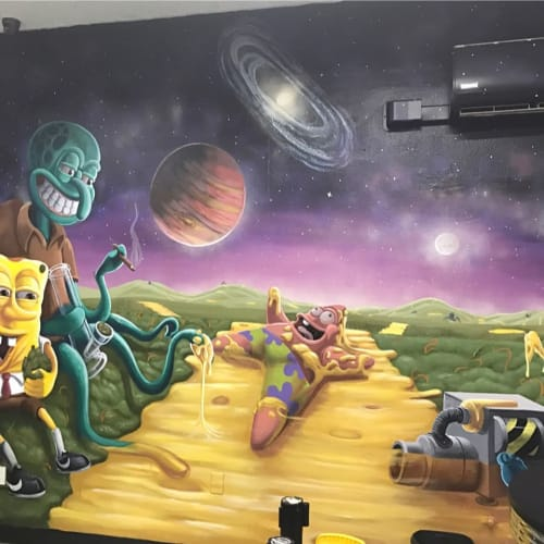 Murals by 3rdi Art seen at Space Lounge, Los Angeles - Futurama Mural