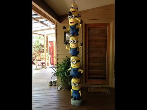 Sculptures by Richard Yates seen at Private Residence, Chewton - Minion Totem Pole