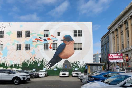 Street Murals by Joshua Coffy seen at Anchor Coworking Space, San Francisco - Bird Song #3