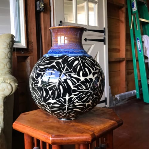 Vases & Vessels by Elan Pottery seen at Private Residence, Frederick - Monstera Vase