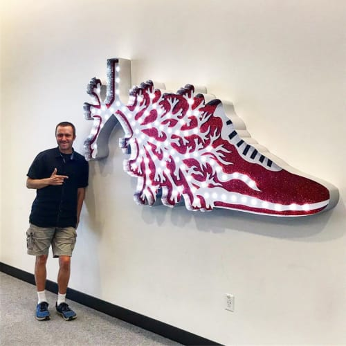Sculptures by Dylan Mortimer seen at The University of Kansas School of Business, Lawrence - AIR MAX
