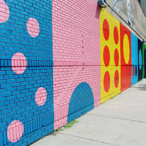 Street Murals by Leah Rosenberg seen at Charlton Street, New York - Circle Game