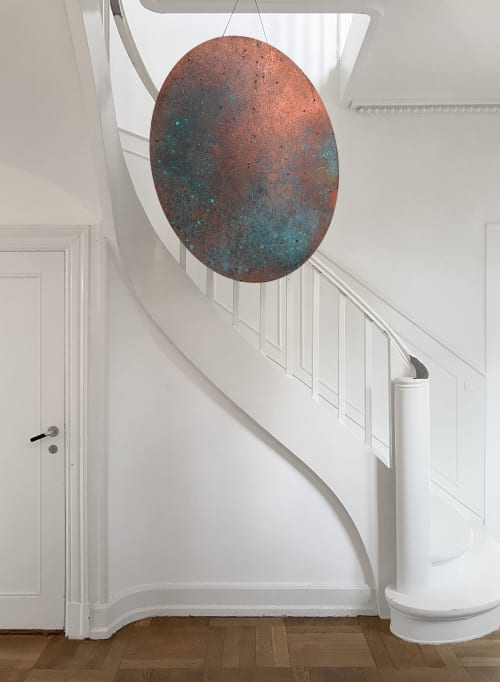 Sculptures by Mikkel Carl seen at Private Residence, Hellerup - Oxidized faux copper disk