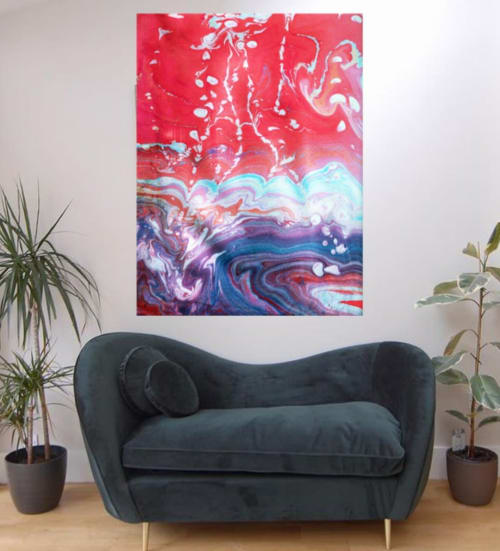 Paintings by Meanmagenta Marbling & Photography seen at Private Residence, London - Maelstrom with red sky-marbling art print