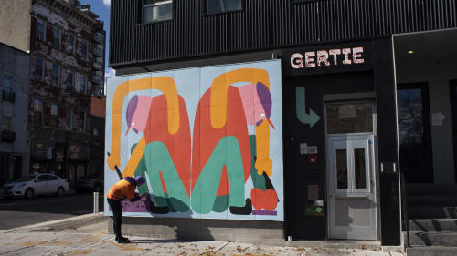 Murals by Jurèma seen at Gertie, Brooklyn - Gertie restaurant exterior mural