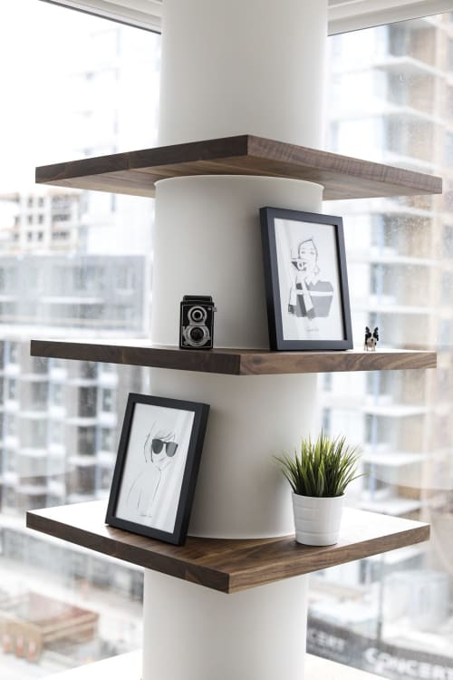Furniture by Nakedwood seen at Private Residence, Vancouver - Walnut Shelf and Wine Rack