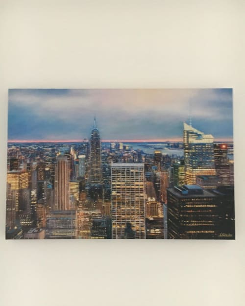 """Paintings by Lesley Anne Derks seen at Private Residence - """"View from the Rockefeller Center, New York"""" boxed canvas print"""
