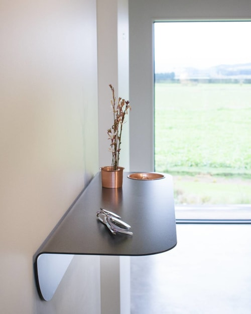 Furniture by Rowan Jackman Design seen at Private Residence, Christchurch - Curve Wall Shelf