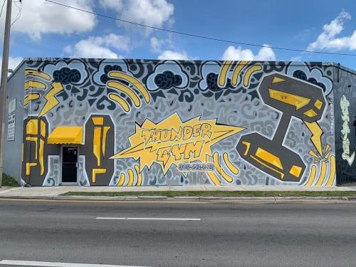 Murals by Jonathan Olaya seen at Thunder Gym, Miami - Thunder Gym Mural