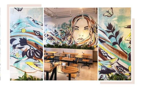 Murals by Hannah Adamaszek seen at 9 Albany St, St Leonards - Rough & Bare