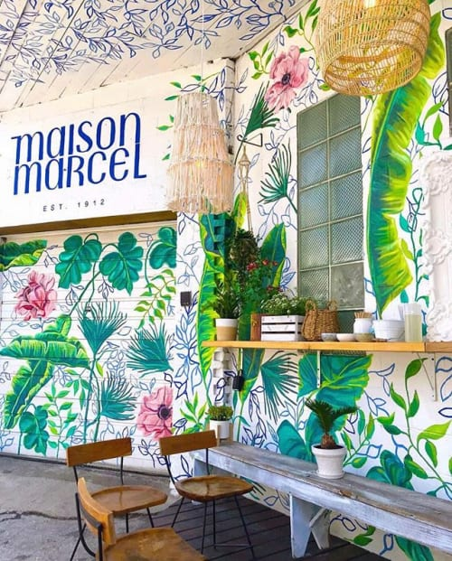 Murals by Surface of Beauty seen at Maison Marcel, Chicago - paper cups for Maison Marcel matching to mural