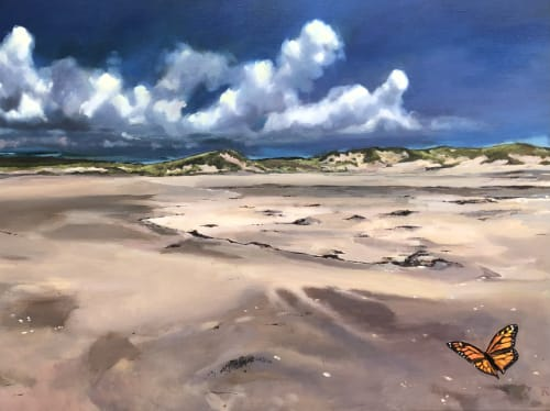 "Paintings by rebecca jacob seen at Creator's Studio, Philadelphia - Smooth Strand, 40""x30"", oil on linen"