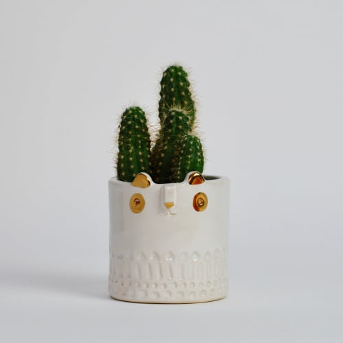 Vases & Vessels by Atelier Stella Ceramics - Mini Panda Pot + Medium Gold Dot Tripod Pot
