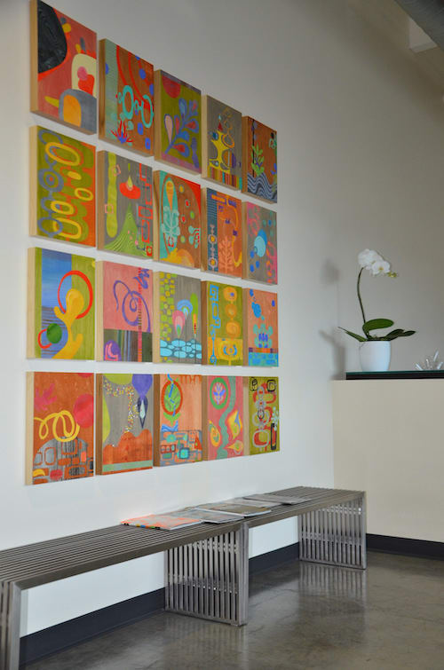 Paintings by Open Eye Art seen at Ruby Receptionists, Portland - Mid Century Modern Art Collage/ Collaborative Art Panels