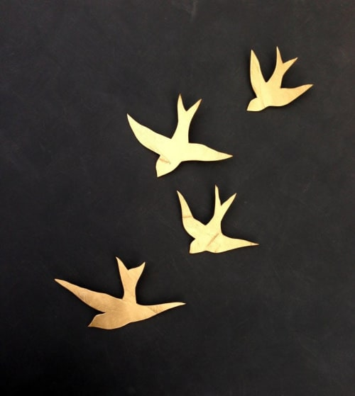 Art & Wall Decor by Elizabeth Prince Ceramics seen at Creator's Studio, Manchester - Set of 4 Porcelain Swallows in Metallic Gold Finish