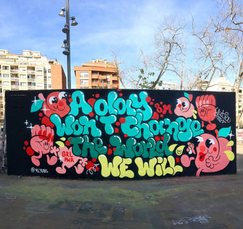 Murals by YUBIA seen at Jardins de les Tres Xemeneies, Barcelona - Women´s Day X Seat