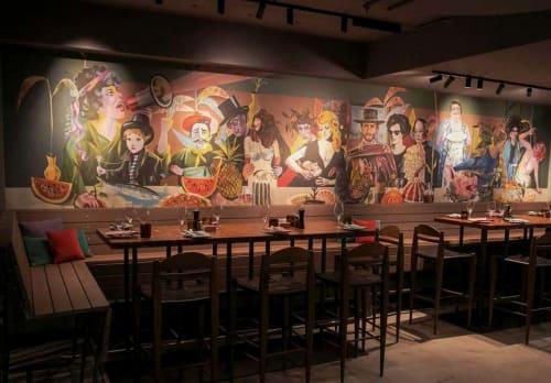 "Murals by Olaf Hajek seen at Vienna, Vienna - Ribelli Restaurant Wall Paper Art ""The last Supper"""