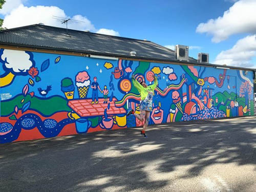 Murals by LCND by Lucinda Penn seen at Hokey Pokey, Stirling - LCND X Hokey Pokey