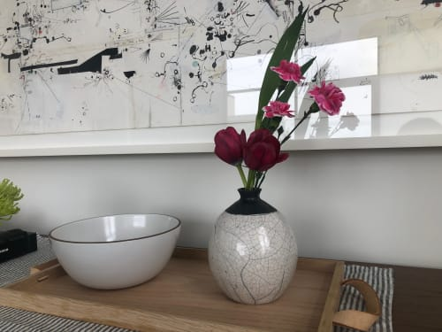 Vases & Vessels by Kingfisher Potters seen at Private Residence, Brooklyn - Bud Vase White Raku Crackle