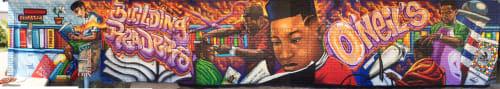 Murals by Rahmaan Statik Barnes seen at O'Neil's Barber & Beauty Salon, Baton Rouge - Building readers mural project Wall 1