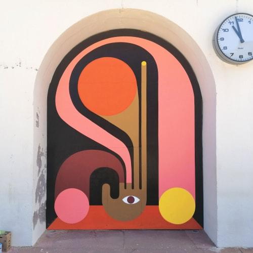 Murals by Steven Burke seen at Plage du Port Vieux - Port Vieux