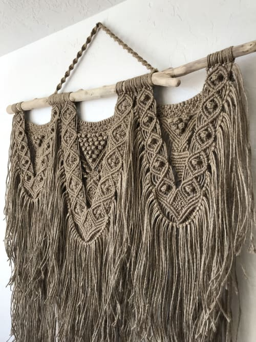 Macrame Wall Hanging by Langbaron Art seen at Private Residence - Galeana, Chih., Mexico, Galeana - Large jute swag