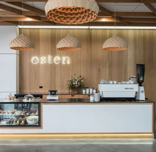 Pendants by Copper Design seen at Osten Cafe, Hamilton - Nest Pendants