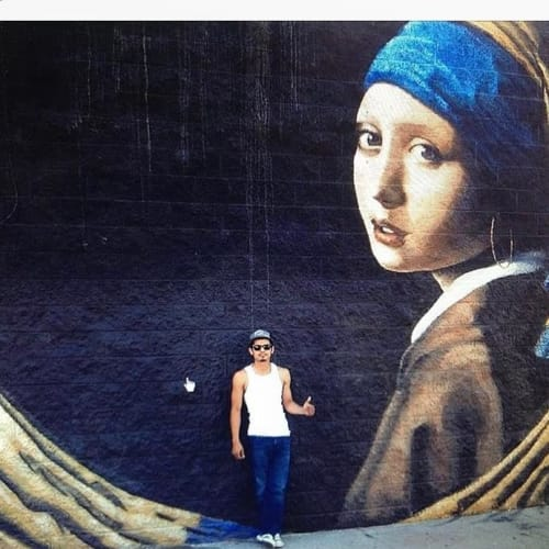 Street Murals by Levi Ponce seen at Mural Mile, Los Angeles - Girl with Hoop Earring
