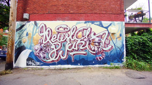 Murals by Wuna graffiti seen at Private Residence, Montreal - Yeusla & Wuna