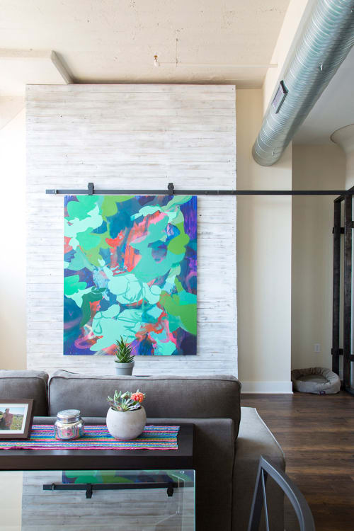 "Paintings by Nicole Mueller seen at Private Residence, Baltimore - ""Shape Shifters"" Painting in Private Residence"