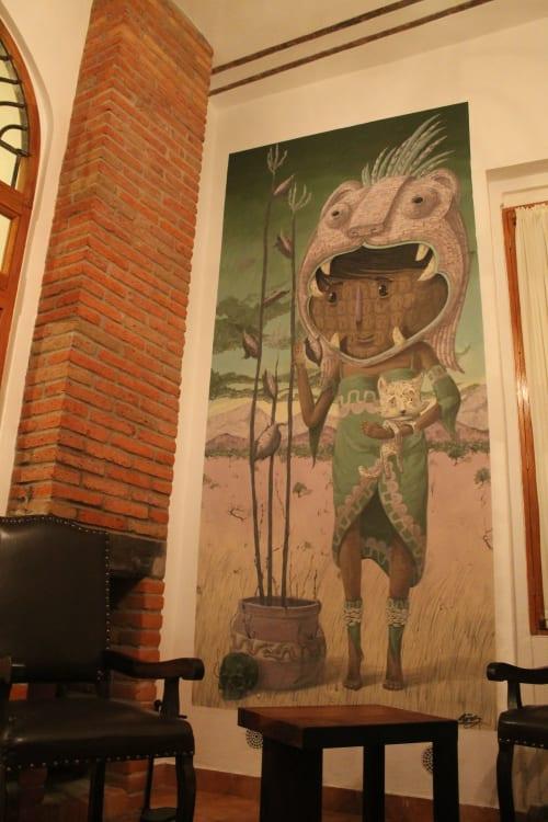 Murals by Sens seen at Private Residence, Santiago de Querétaro - Comisión Departamento Airbnb