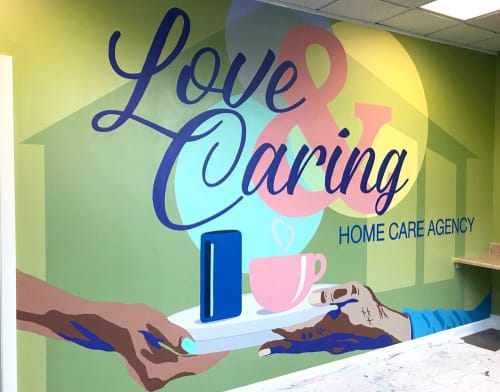Murals by Toni Miraldi / Mural Envy seen at 505 Wolcott St, Waterbury - Love & Caring Home Care Mural