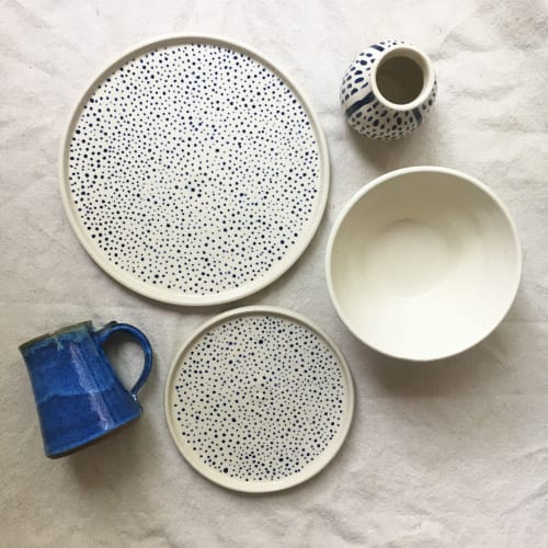 Ceramic Plates by Laura Keyes seen at Asheville, Asheville - Blue Dotted Plates