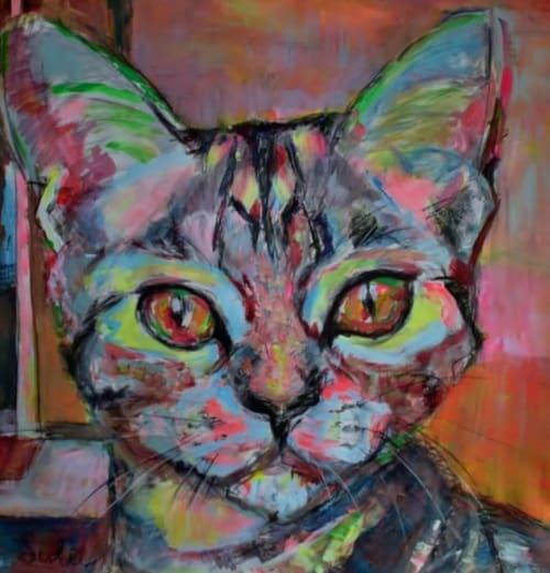 Paintings by Liesbeth Serlie seen at Private Residence, Brakel - Kattenliefde