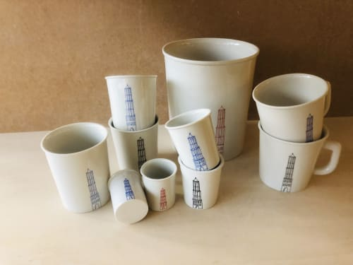 Cups by BAM Keramiek seen at TwaalfZestig, Utrecht - PORCELAIN LATTE CUP WITH DOM-TOWER OF THE CITY UTRECHT