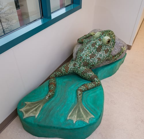 Public Sculptures by Faducci seen at Valley Children's Hospital - Cow and Dog and Leopard Frog