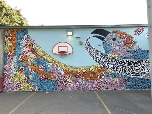 Murals by Sophie Roach seen at Travis Heights Elementary School, Austin - Travis Heights Elementary 75 Year Anniversary Mural