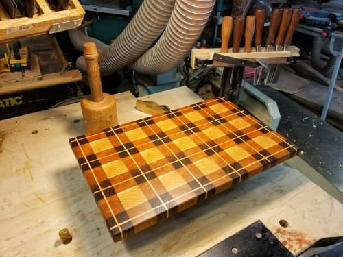Furniture by Copper Pig Woodworking seen at Private Residence, Boston - Plaid Cutting Board #2