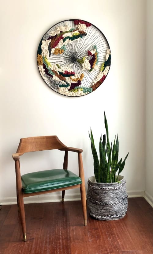Wall Hangings by Twill & Tendril by Rebecca Buning seen at Private Residence, Grand Rapids - Circle Wheel Weaving (the Original)