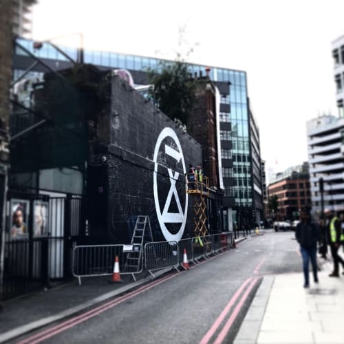Street Murals by Jane Mutiny seen at Holywell Lane, London - Extinction Rebellion @ Village Underground