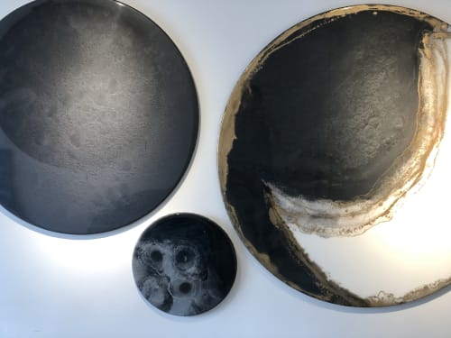 Paintings by JUANITA ECHEVERRY seen at BOGOTÁ D.C. - Moon and gold.