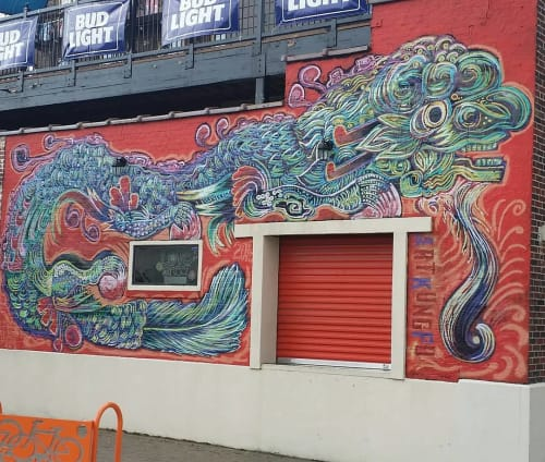 "Street Murals by Street Art of Artkungfu (Angel Quesada) seen at King's Court Bar and Kitchen, Houston - ""Old Vinatown Dragon"""