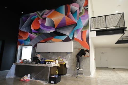 Murals by Nathan Brown seen at Kenect Nashville, Nashville - Kenect high-rise mural