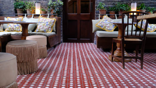 Tiles by Otto Tiles And Design at Soho House 40 Greek Street, London - Hand Made Cement Tiles for Outside Patio