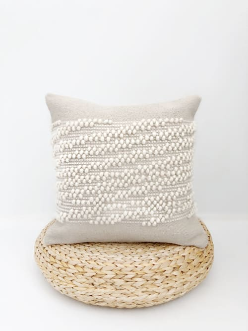 Pillows by Coastal Boho Studio seen at Creator's Studio, Destin - White Shell Handwoven Pillow Cover
