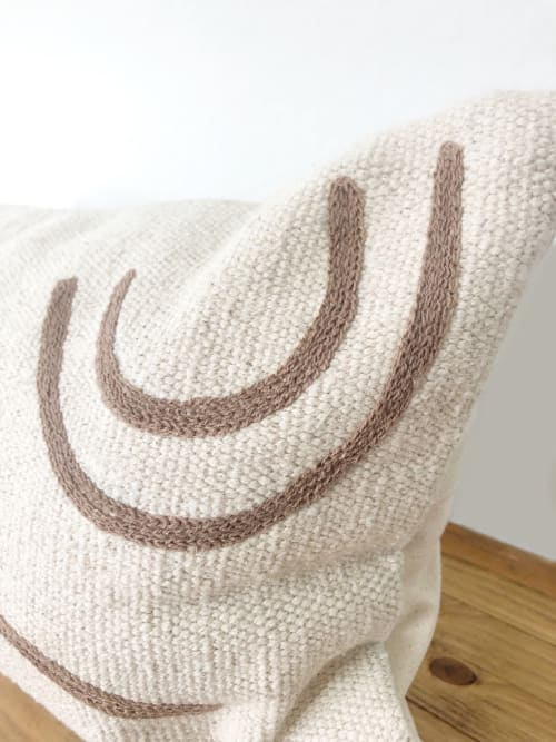 Pillows by Coastal Boho Studio seen at Creator's Studio, Frisco - Navarre Handwoven Lumbar Pillow Cover - Dark Tan