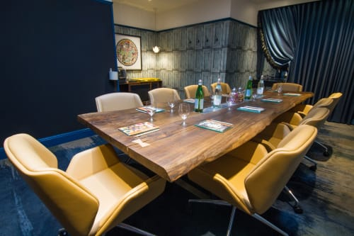 Tables by Handmade in Brighton seen at Hotel Indigo London - Kensington, London - Live-Edge Two Slab English Walnut Meeting Table
